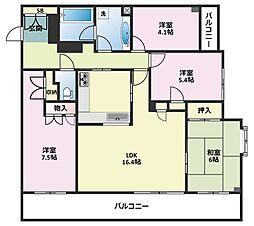 神奈川県横浜市鶴見区東寺尾5丁目の賃貸マンションの間取り