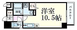 SDグランツ神戸大開通 2階ワンルームの間取り