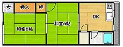 兵庫県神戸市北区鈴蘭台南町8丁目の賃貸アパートの間取り
