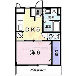 カーサ・フィオーレII 1階1DKの間取り