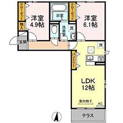 JR山陽本線 庭瀬駅 徒歩22分の賃貸アパート 1階2LDKの間取り