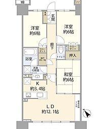 東武東上線 下板橋駅 徒歩4分の賃貸マンション 7階3LDKの間取り
