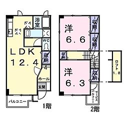 アーバンハウス 2号館 1階2LDKの間取り