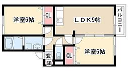 愛知県名古屋市緑区鳴丘2丁目の賃貸アパートの間取り