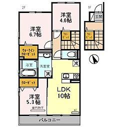 和歌山県和歌山市新在家の賃貸アパートの間取り