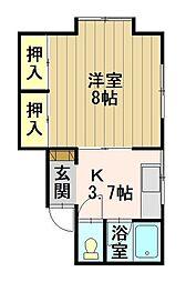 コーポ山田II 2階1Kの間取り