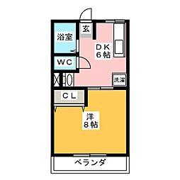 シティハイム八剱A[2階]の間取り