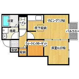 兵庫県姫路市飾磨区西浜町1丁目の賃貸アパートの間取り