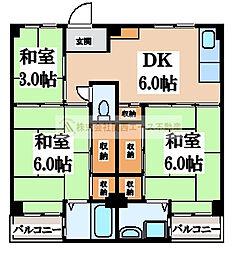 ビレッジハウス葛ノ葉7号棟[3階]の間取り