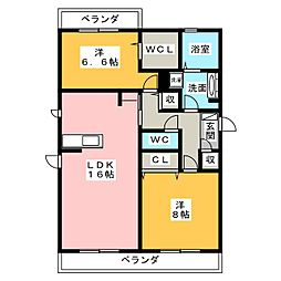 愛知県名古屋市昭和区広路本町6丁目の賃貸アパートの間取り