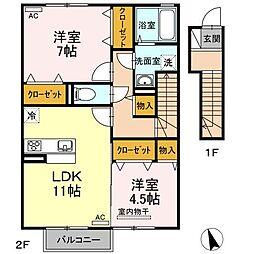 高松琴平電気鉄道長尾線 長尾駅 5.5kmの賃貸アパート 2階2LDKの間取り