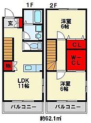 [タウンハウス] 福岡県北九州市若松区下原町 の賃貸【/】の間取り