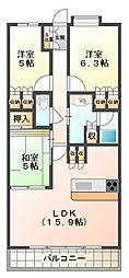 兵庫県神戸市西区学園東町6丁目の賃貸マンションの間取り