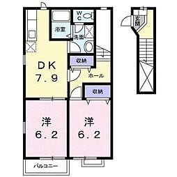 カーサカネジョウA[0203号室]の間取り