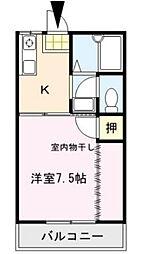 JR久大本線 南久留米駅 3.9kmの賃貸アパート 2階1Kの間取り