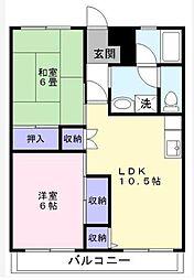 千葉県松戸市三ケ月の賃貸マンションの間取り