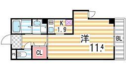 ブリランテIII番館 3階1Kの間取り