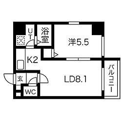セレナール南13条 4階1LDKの間取り