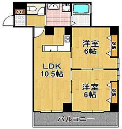 グランパシフィック大正 6階2LDKの間取り