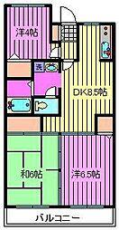 須賀第9マンション[3階]の間取り