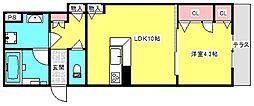 シャーメゾン西郷通 1階1LDKの間取り