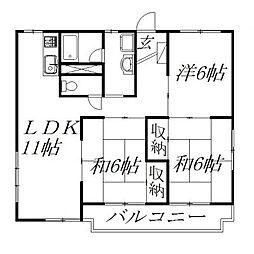静岡県浜松市中区高林3丁目の賃貸マンションの間取り