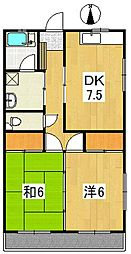 コーポ健[2階]の間取り