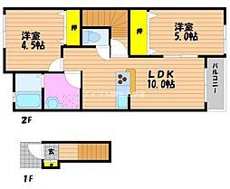 リバーサイド藤田B棟 2階2LDKの間取り