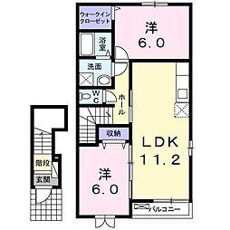 エクセレント・ネサキB[2階]の間取り