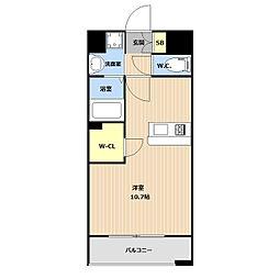 LIBTH(リブス)平尾II 6階ワンルームの間取り