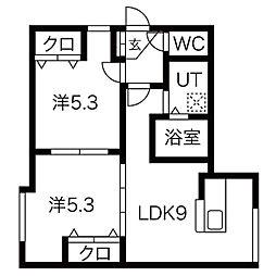FS39 3階2LDKの間取り