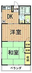 神奈川県川崎市高津区子母口の賃貸アパートの間取り