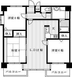兵庫県尼崎市武庫町4丁目の賃貸マンションの間取り