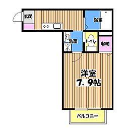 東京都あきる野市油平の賃貸アパートの間取り