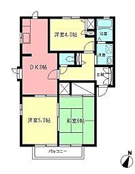 ドルフ城所II[2階]の間取り