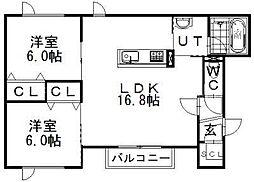 フォンテーヌF8[1階]の間取り