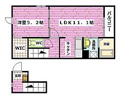 広島県安芸郡海田町国信2丁目の賃貸アパートの間取り