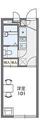 JR阪和線 和泉府中駅 徒歩6分の賃貸アパート 1階1Kの間取り