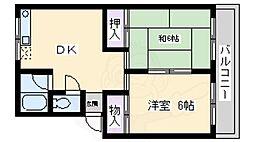 松尾コーポ 3階2DKの間取り