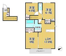 D-room十連寺 壱番館[2階]の間取り