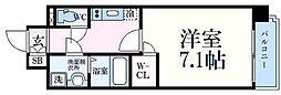 神戸市海岸線 中央市場前駅 徒歩5分の賃貸マンション 2階1Kの間取り