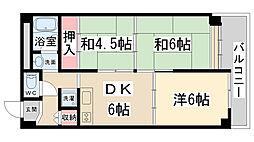 兵庫県西宮市田近野町の賃貸マンションの間取り