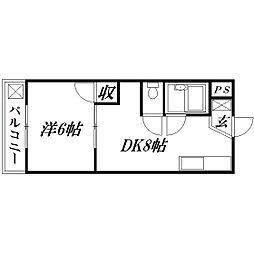 静岡県浜松市中区常盤町の賃貸マンションの間取り