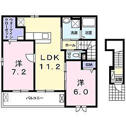 上野町アパート B棟[0201号室]の間取り