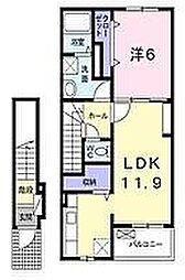 大阪府枚方市招提元町1丁目の賃貸アパートの間取り