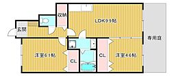 滋賀県東近江市桜川西町の賃貸アパートの間取り