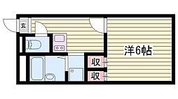 山陽電鉄本線 林崎松江海岸駅 徒歩10分の賃貸アパート 2階1Kの間取り