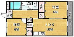 レオハイム木屋[4階]の間取り