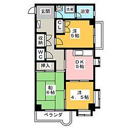 愛知県一宮市富士3丁目の賃貸マンションの間取り