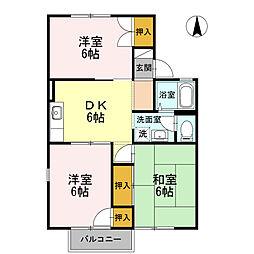 神奈川県厚木市鳶尾2丁目の賃貸アパートの間取り